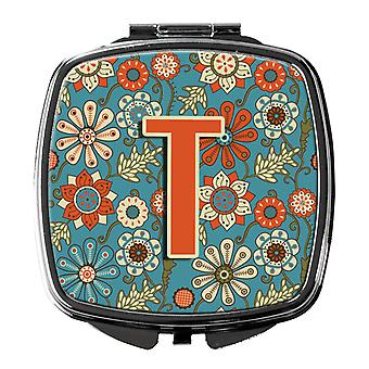 Carolines Treasures  CJ2012-TSCM Letter T Flowers Retro Blue Compact Mirror