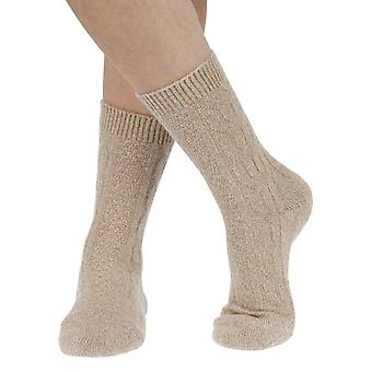 Cristina warm women's cashmere crew socks in oatmeal | By Pantherella