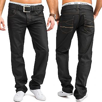 Men's regular fit jeans grey coloured shiny pants 100% cotton W34 - W44