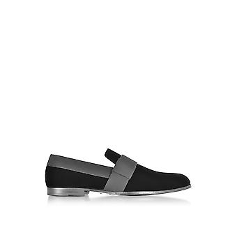 Jimmy Choo men's JOHNVGNBLACK black velvet moccasins
