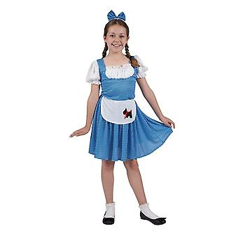 Country Girl Children Fancy Dress Costume Dress with Apron & Headpiece