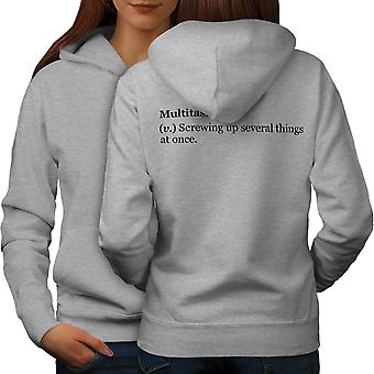 Multitasking Joke Women GreyHoodie Back | Wellcoda