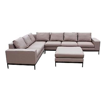 Maze Lounge June Taupe All Weather Corner Sofa Set & Ottoman