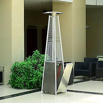 Outsunny 13KW Garden Pyramid Heating Patio Outdoor Warmer Propane Gas Real Flame Stainless Steel w/ Wheels