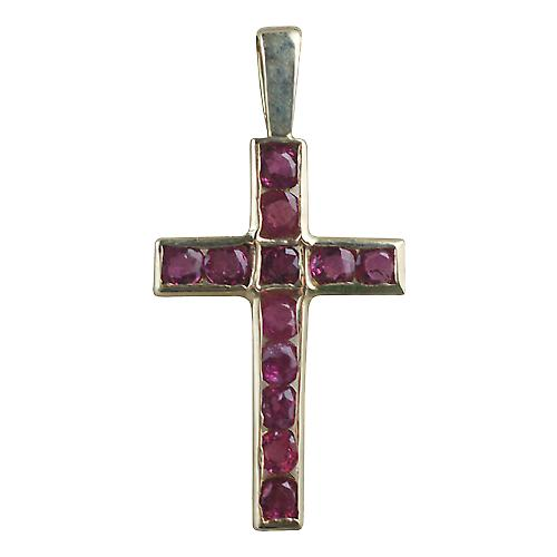 9ct Gold 25x16mm Apostle's Cross set with 12 Rubies