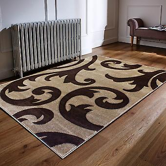 Hand Carved Elude Rugs In Beige And Brown