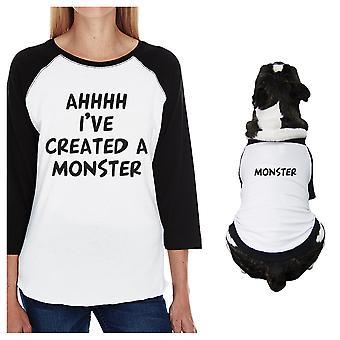 Erstellt ein Monster kleiner Hund und Mutter, die passenden Outfits Raglan-t-Stücke