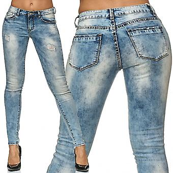 Women's skinny jeans pants tube stretch hipster jeans trousers hole ripped destroyed