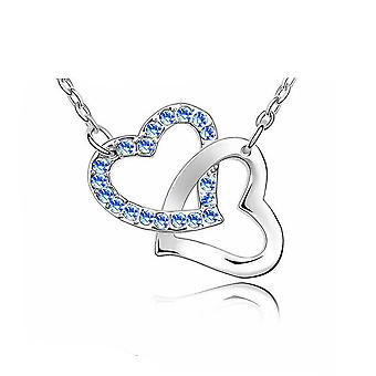 Womens Love Heart Pendant Necklace Dark Blue Stones