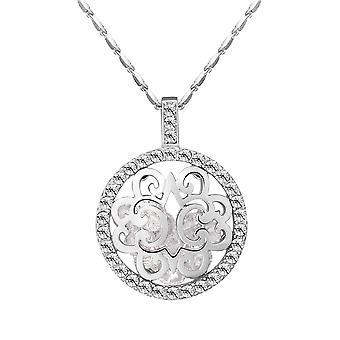 Necklace necklace woman and pendant Crystal Swarovski Elements white circle and Rhodium plate