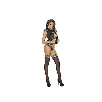 Elegant Moments  EM-1787 Sheer thigh Hi Stockings with Leopard top