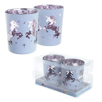 Puckator Set of 2 Tealight Holders, Unicorn Design