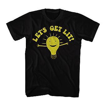 Humor Let's Get Lit Men's Black Funny T-shirt