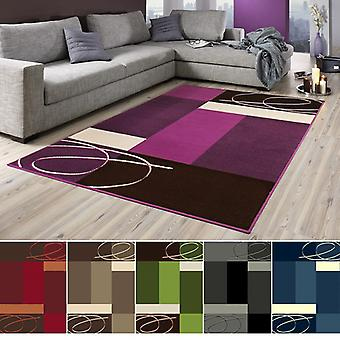 Designer carpet Tony | Short-pile in terracotta, beige, purple, green, blue, grey