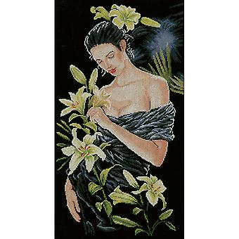 LanArte Lady With Lilies On Aida Counted Cross Stitch Kit-12.5