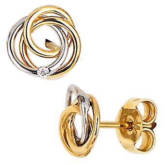 Hengsten 585 goud geel goud wit goud combineert 2 diamanten briljante oorbellen goud