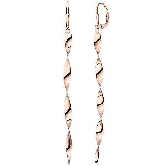 Earrings spiral 925 sterling silver plated rose gold earrings turned