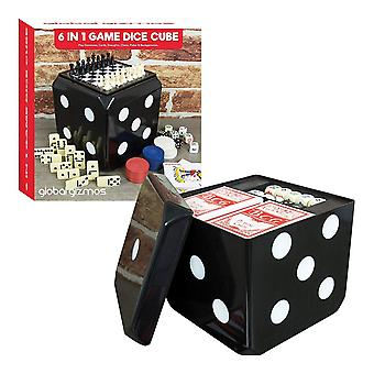 Global Gizmos 6 In 1 Game Set - Traditional & Fun Games including Dice, Poker, Draughts, Chess, Dominoes, Cards, & Backgammon Home Travel