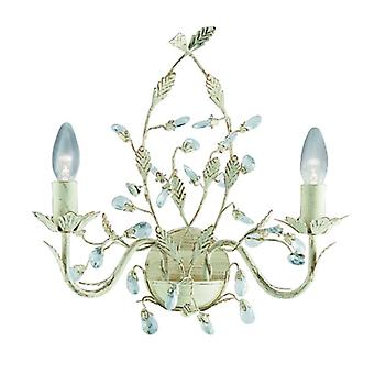 Almandite Cream And Gold Wall Light With Crystals - Searchlight 2492-2cr