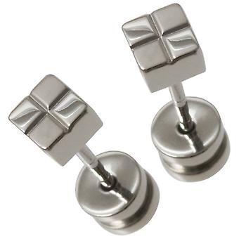 Ti2 Titanium Small Square Checked Stud Earrings - Silver
