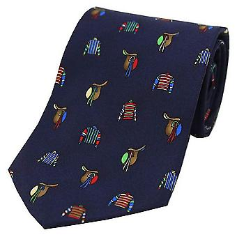 David Van Hagen corse colori e selle cravatta di seta di paese - Navy