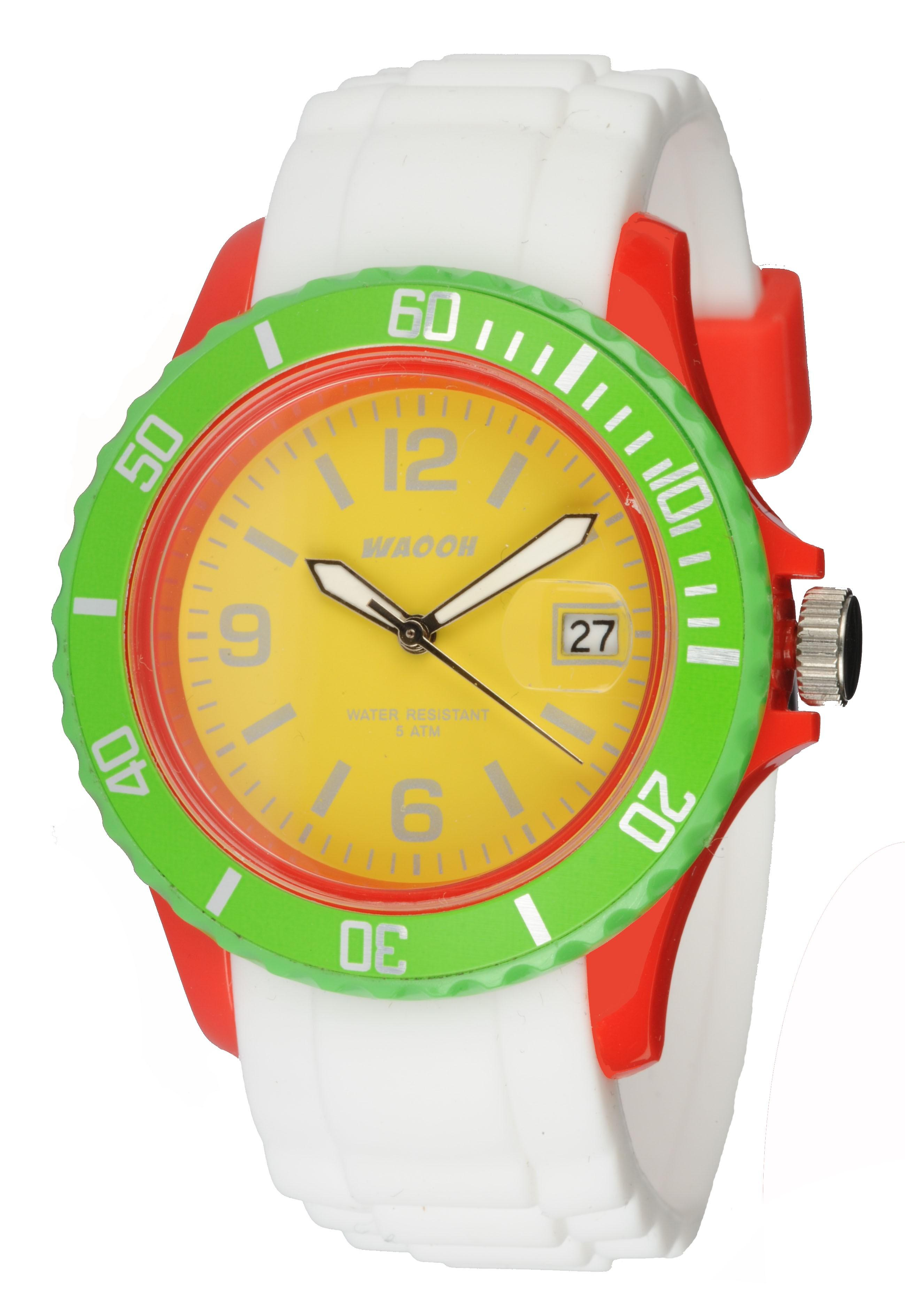Waooh - Watch Monaco38 - Multi Red Yellow & Green