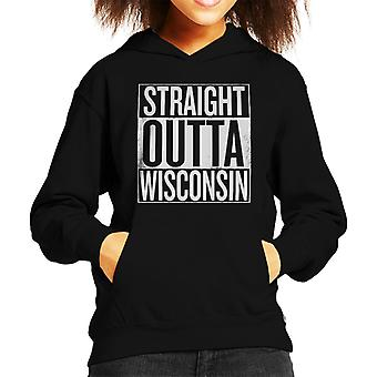 White Text Straight Outta Wisconsin US States Kid's Hooded Sweatshirt
