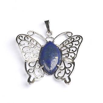 1 x blaue Lapislazuli 40 x 45mm Butterfly Charm-Anhänger CB47013