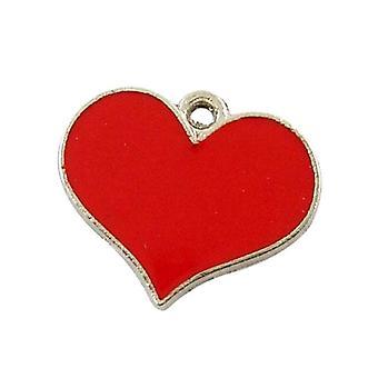 Paket 10 x röd emalj & legering 16mm hjärta Charm/hänge HA08365