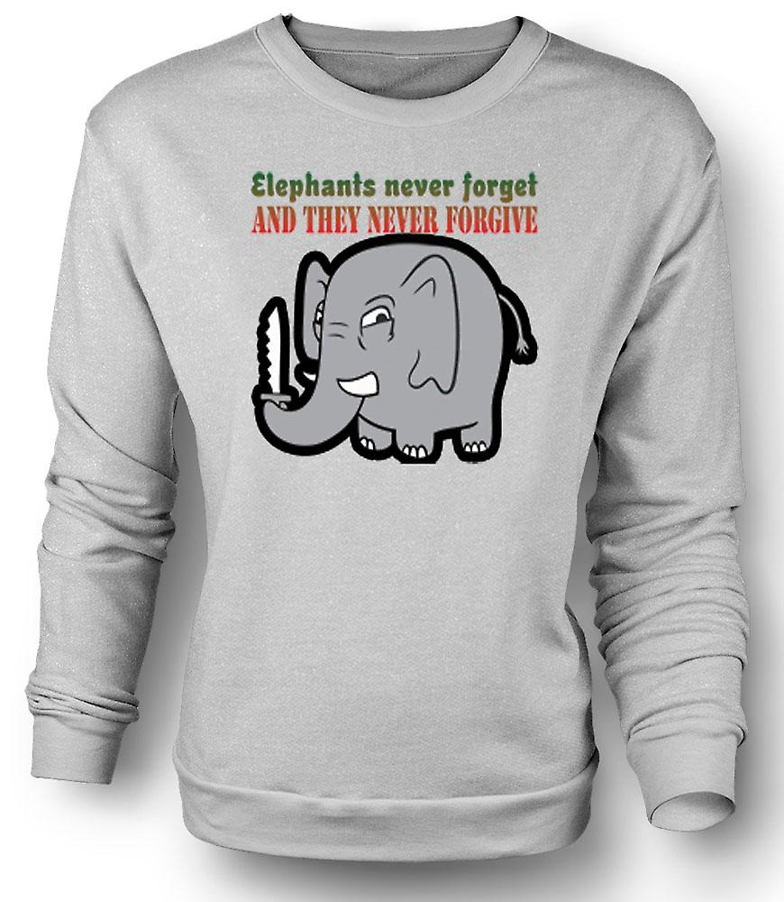Mens Sweatshirt Elephants never forget & they never forgive