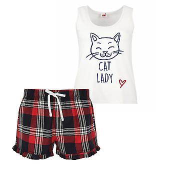 Cat Lady Ladies Tartan Frill Short Pyjama Set Red Blue or Green Blue