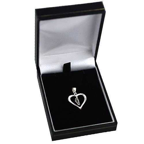 sterling Silver heart with a hanging Initial V