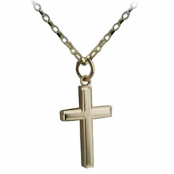 9ct Gold 20x13mm engine turned line border solid block Cross with belcher Chain 16 inches Only Suitable for Children
