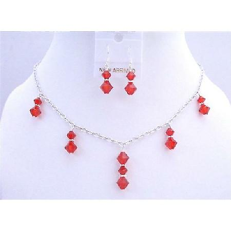 Lite Siam Red Swarovski Crystals Necklace Beads Dangling Jewelry Set