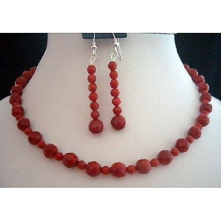 Handcrafted Faceted Red Coral Bead Necklace & Earrings Set