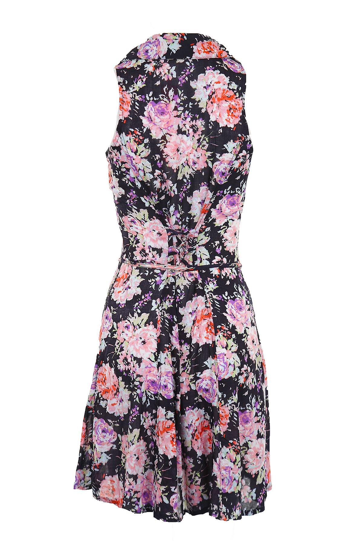 Ladies Sleeveless Rose Floral Summer Tie Back Women's Shirt Dress