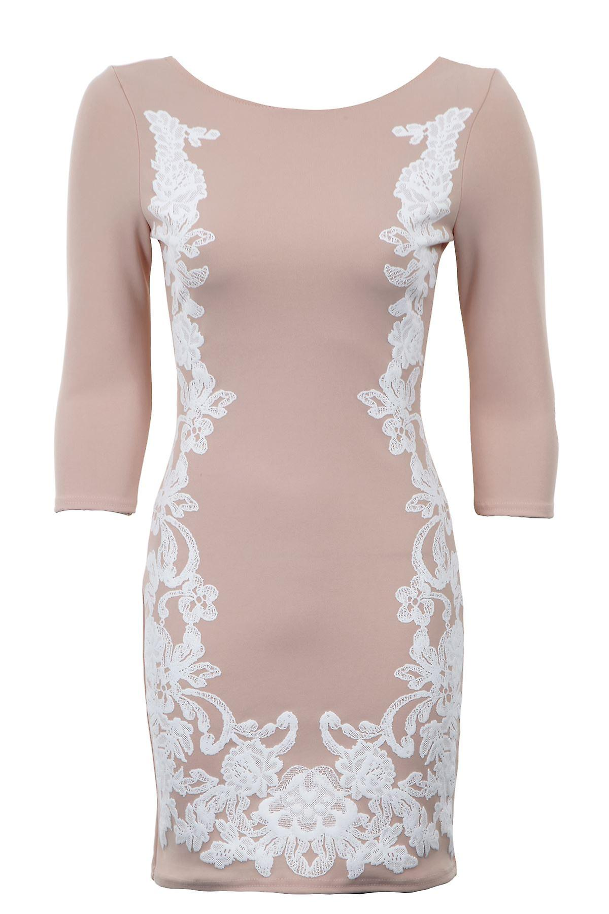 New Ladies 3/4 Sleeves Floral Embossed Slim Fitting Bodycon Women's Dress