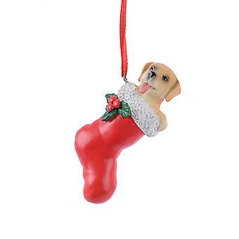 TRIXES Dog Red Stocking Xmas Ceramic Ornament