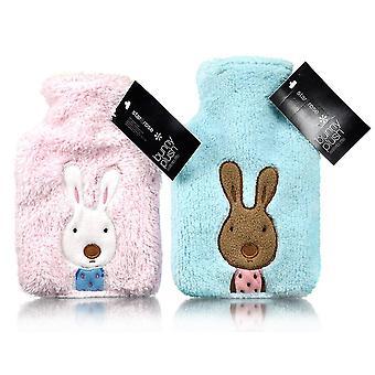 Plush Fleece Applique Bunny Mini Hot Water Bottle: Blue