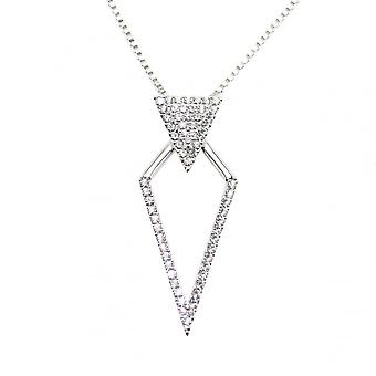 Vip VIP Silver Plated Crystal Set Diamond Shape Pendant And Chain