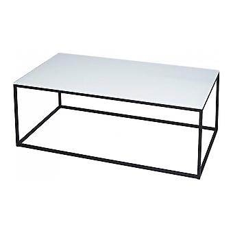 Gillmore Space White Glass And Black Metal Contemporary Rectangular Coffee Table