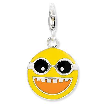 925 Sterling Silver Rhodium-plated Fancy Lobster Closure Enameled Happy Face With Lobster Clasp Charm