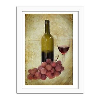 Picture In White Frame, Bottle Of Wine And Grapes
