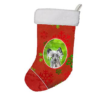 Chinese Crested Red Snowflakes Holiday Christmas Stocking