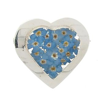 Shrieking Violet Sterling Silver Forget Me Not Large Heart Brooch
