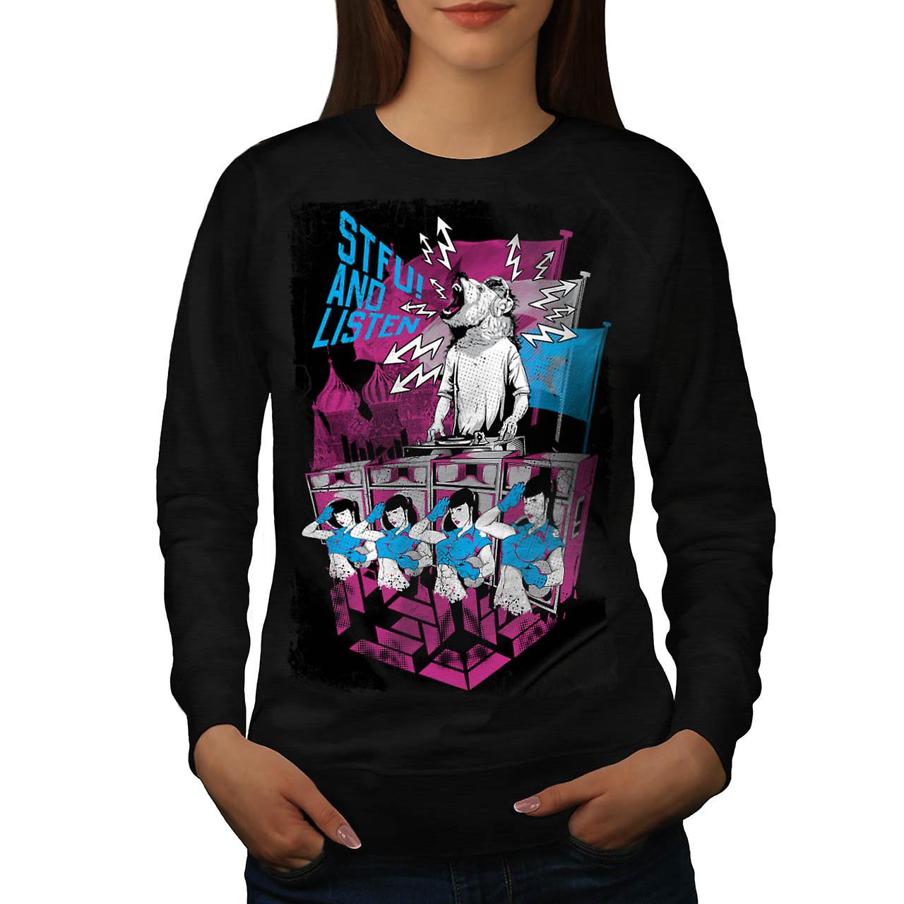 DJ Music Brown Bear Dance Rave Women Black Sweatshirt | Wellcoda
