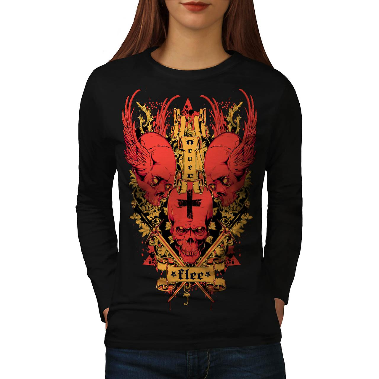 Never Flee Stand Up Brave Devil Women Black Long Sleeve T-shirt | Wellcoda
