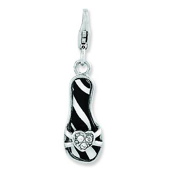 Sterling Silver Enameled 3-d Zebra Sandal With Lobster Clasp Charm - 1.5 Grams