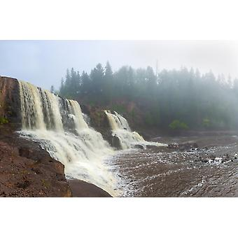 Waterfall in a forest Middle Falls Gooseberry River Gooseberry Falls State Park Lake Superior Minnesota USA Poster Print