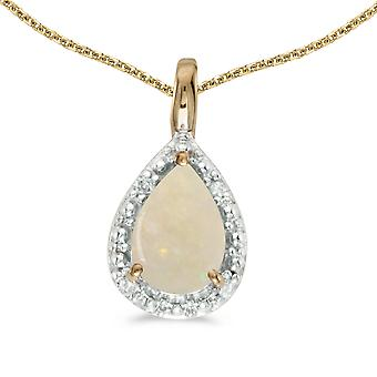 10k Yellow Gold Pear Opal Pendant with 16
